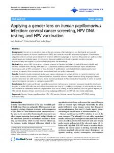 Applying a gender lens on human papillomavirus infection: cervical cancer screening, HPV DNA testing, and HPV vaccination