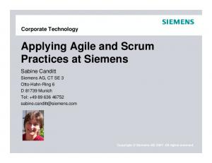 Applying Agile and Scrum Practices at Siemens