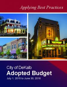 Applying Best Practices. City of DeKalb. Adopted Budget