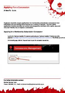 Applying For a Concession