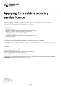 Applying for a vehicle recovery service licence