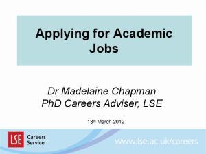 Applying for Academic Jobs