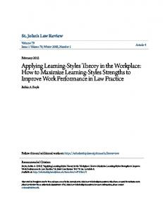 Applying Learning-Styles Theory in the Workplace: How to Maximize Learning-Styles Strengths to Improve Work Performance in Law Practice