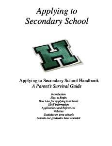 Applying to Secondary School