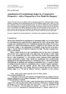 Appointment of Constitutional Judges in a Comparative Perspective with a Proposal for a New Model for Hungary **