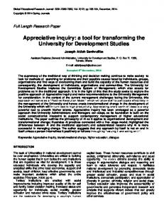 Appreciative inquiry: a tool for transforming the University for Development Studies