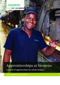 Apprenticeships at Siemens. A world of opportunities for school leavers