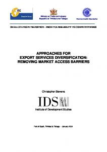 APPROACHES FOR EXPORT SERVICES DIVERSIFICATION: REMOVING MARKET ACCESS BARRIERS