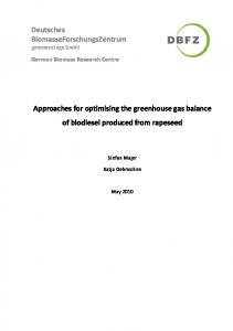 Approaches for optimising the greenhouse gas balance of biodiesel produced from rapeseed