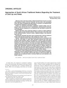 Approaches of South African Traditional Healers Regarding the Treatment of Cleft Lip and Palate