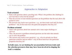 Approaches to Adaptation