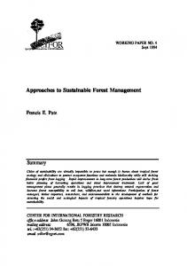 Approaches to Sustainable Forest Management