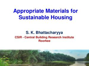Appropriate Materials for Sustainable Housing