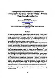 Appropriate Ventilation Solutions for the Iconographic Buildings from the Fifties A Cross Disciplinary Investigation