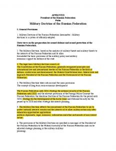 APPROVED President of the Russian Federation Putin Military Doctrine of the Russian Federation