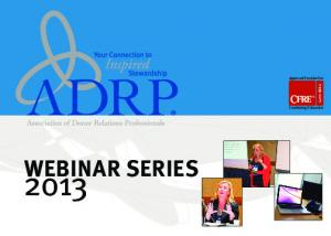 Approved Provider For Continuing Education WEBINAR SERIES