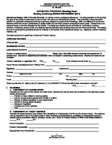 APPROVED PROVIDER Planning Form Nursing Continuing EDUCATION DESIGN I (ED I)