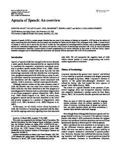 Apraxia of Speech: An overview