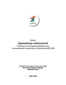 Aprendizaje institucional Problemas y estrategias abordadas por las Comunidades de Aprendizaje de Educadoras