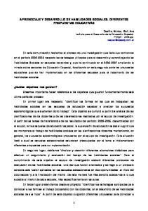 APRENDIZAJE Y DESARROLLO DE HABILIDADES SOCIALES. DIFERENTES PROPUESTAS EDUCATIVAS