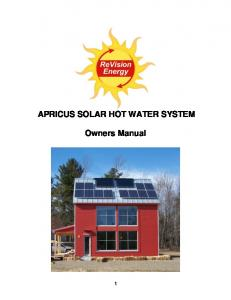 APRICUS SOLAR HOT WATER SYSTEM. Owners Manual