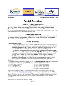 April 2012 Provider Bulletin Number Dental Providers