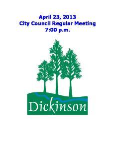 April 23, 2013 City Council Regular Meeting 7:00 p.m