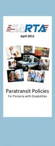 April Paratransit Policies. For Persons with Disabilities