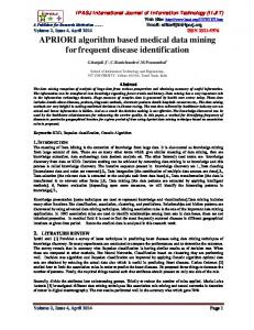 APRIORI algorithm based medical data mining for frequent disease identification