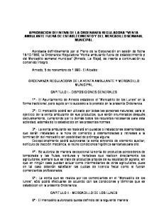 APROBACION DEFINTIVA DE LA ORDENANZA REGULADORA VENTA AMBULANTE FUERA DE ESTABLECIMIENTO Y DEL MERCADILLO SEMANAL MUNICIPAL