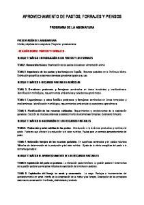 APROVECHAMIENTO DE PASTOS, FORRAJES Y PIENSOS
