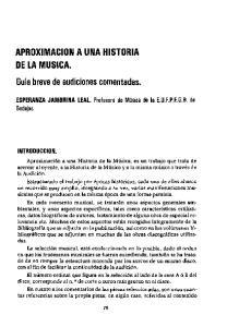 APROXIMACION A UNA HISTORIA DE LA MUSICA