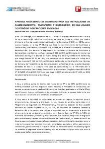 APRUEBA REGLAMENTO DE SEGURIDAD PARA LAS INSTALACIONES DE ALMACENAMIENTO, TRANSPORTE Y DISTRIBUCIÓN DE GAS LICUADO DE PETRÓLEO Y OPERACIONES ASOCIADAS