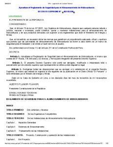 Aprueban el Reglamento de Seguridad para el Almacenamiento de Hidrocarburos