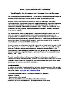 APSU Environmental Health and Safety. Guidelines for the Management of Peroxide-Forming Chemicals