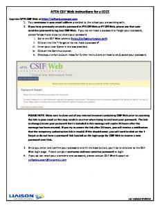 APTA CSIF Web Instructions for a CCCE