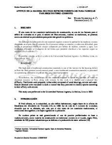 APTITUD DE LA MADERA DE CINCO ESPECIES FORESTALES PARA FABRICAR TABLEROS DE FIBRO -CEMENTO