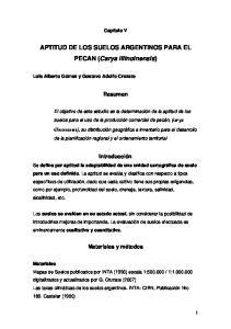 APTITUD DE LOS SUELOS ARGENTINOS PARA EL PECAN (Carya illinoinensis)