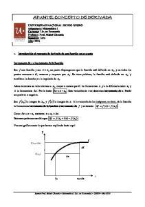 APUNTE: CONCEPTO DE DERIVADA