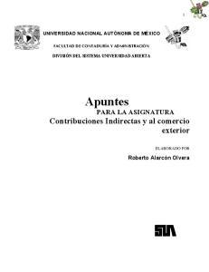 Apuntes PARA LA ASIGNATURA Contribuciones Indirectas y al comercio exterior