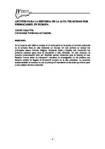 APUNTES PARA LA HISTORIA DE LA ALTA VELOCIDAD POR FERROCARRIL EN EUROPA