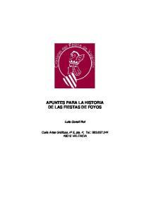 APUNTES PARA LA HISTORIA DE LAS FIESTAS DE FOYOS