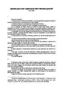 Apuntes para una conferencia sobre literatura juvenil 1 Juan Farias