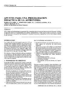APUNTES PARA UNA PROGRAMACION DIDACTICk DE LA ASTRONOMIA