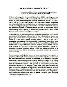 APUNTES SOBRE LA HISTORIA DE CIPCA