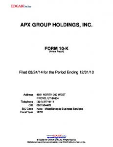 APX GROUP HOLDINGS, INC