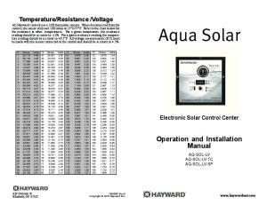 Aqua Solar. Operation and Installation Manual