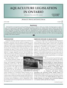 AQUACULTURE LEGISLATION IN ONTARIO