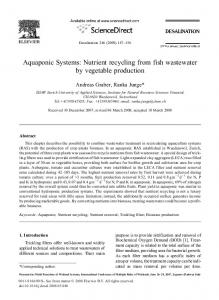 Aquaponic Systems: Nutrient recycling from fish wastewater by vegetable production