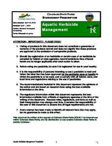 Aquatic Herbicide Management